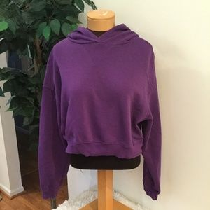H&M purple hooded crop size large gently used